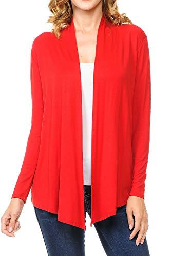 (MINEFREE Women's Long Sleeve Open Front Drape Lightweight Knit Cardigan RED 2XL)