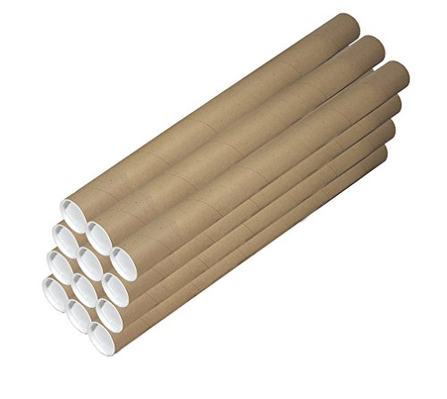 2-Inch by 15-inch, 12 Pack Kraft Mailing Tubes with End Caps by Patriot Wholesale Direct