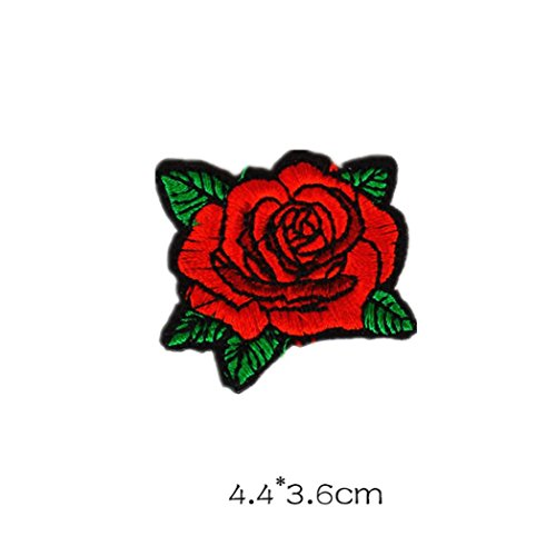 Voberry Rose Flower Embroidered Fabric Iron-on or Sew-on Patch Badge Clothes Applique Trim (G) from Voberry