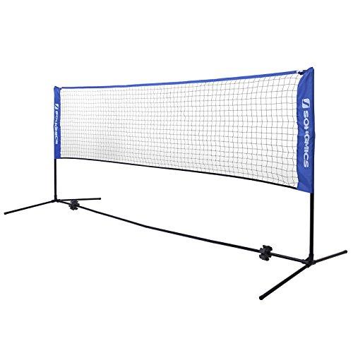 Songmics Badmintonnetz faltbar Höhenverstellbar mit Gestell und tragbar 300 cm breit SYQ300