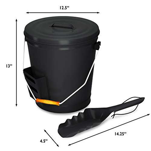 Home-Complete HC-7004 4.75 Gallon Black Ash Bucket with Lid and Shovel-Essential Tools for Fireplaces, Fire Pits, Wood Burning Stoves-Hearth Accessories by Home-Complete (Image #6)
