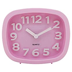 Konigswerk Non-ticking Quartz Analog Bedside Alarm Clock With 3D Numerals and Loud Alarm (pink) AC032G