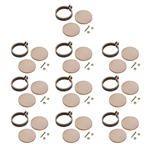 SM SunniMix 10 Sets Round Mini Wooden Embroidery Hoop Frame DIY Pendant Brooch Jewelry Making