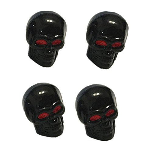 Skull Valve Stem Caps (4 Pcs/Set Skull Head Expression Car Tire Tyre Dust Stem Air Valve Caps (Black))