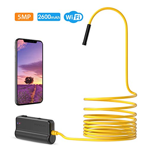 Wireless Endoscope,DEPSTECH Upgrade HD 5.0MP WiFi Borescope, 16 inch Focal Distance, Semi-Rigid Snake Inspection Camera with 2600 mAh Battery for iOS & Android Smart Phone & Tablets ()
