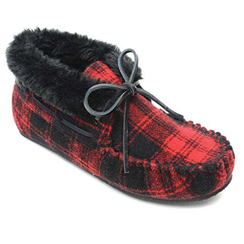 Suede Plaid Shoes - Minnetonka Women's Chrissy Slippers - Red Plaid US 7 M