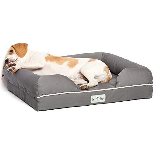 PetFusion Small Pet Bed w/Solid 2.5″ Memory Foam, Waterproof Liner, YKK Premium Zippers. [Gray, Ultimate Lounge 25x20x5.5; Dog beds Furniture Also for Cats] Slate Gray