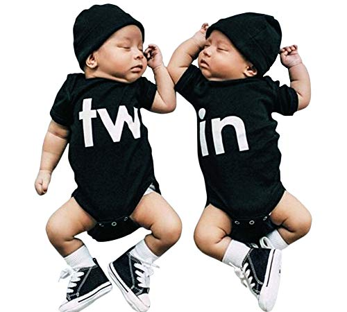 2Pcs Newborn Twins Baby Boys Girls Short Sleeve Cute Romper Bodysuit Summer Outfit Clothes (0-3 Months, ()
