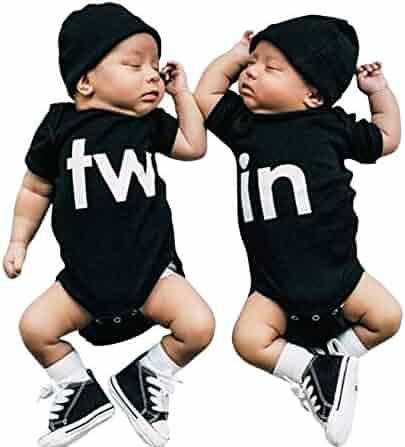 87c4c0ebaa6b3 Mini honey 2Pcs Newborn Twins Baby Boys Girls Short Sleeve Cute Romper  Bodysuit Summer Outfit Clothes