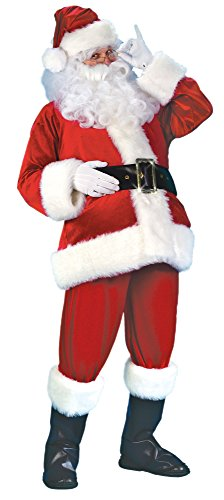 (Fun World Costumes Men's Plus-Size Plus Size Adult Velour Santa Suit, Red/White, X-Large)