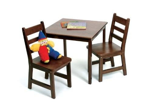 Lipper International 514WN Child's Square Table and 2 Chairs, Walnut Finish by Lipper International