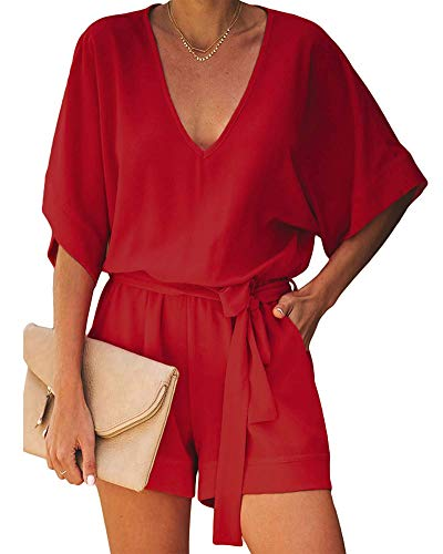 Short Rompers for Women Summer - Short Sleeve V Neck Tie Waist Pocketed Romper Casual Jumpsuit Playsuit One Piece Red ()