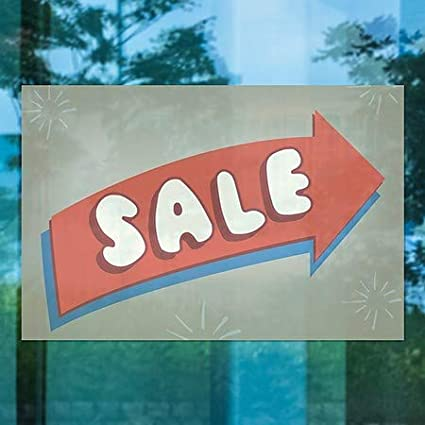 5-Pack Sale Nostalgia Arrow Window Cling 30x20 CGSignLab