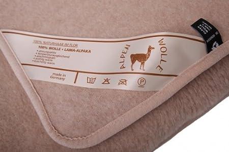 Alpaca - Manta de lana (20% alpaca, 80% lana de merino), lana, marrón claro, 135 x 200 cm