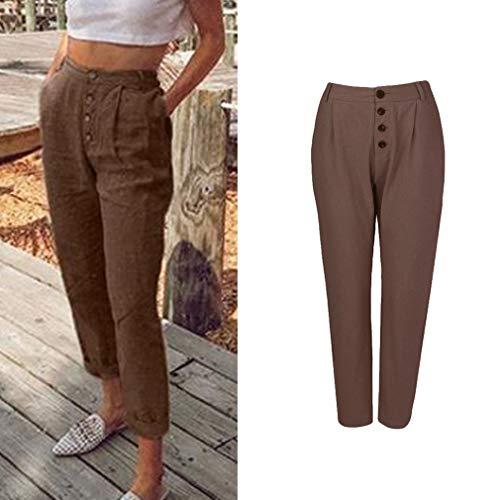Taille Longs Mode Casual Boutons de lgant Crayon Unie Plus avec XL Pantalon Couleur S Leggings Taille OL Bureau 1 Brown Pantalon Femme Pantalons La Moyenne rORPxaqrw