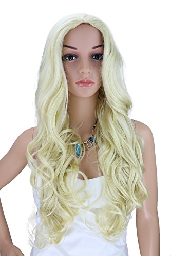 Kalyss Long Curly wigs Women's Hair Synthetic Wigs Fair Blonde Wig