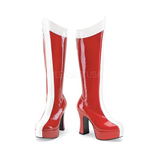 Funtasma by Pleaser Women's Exotica-305 Platform Boot,Red/White Str. Patent,9 M US ()