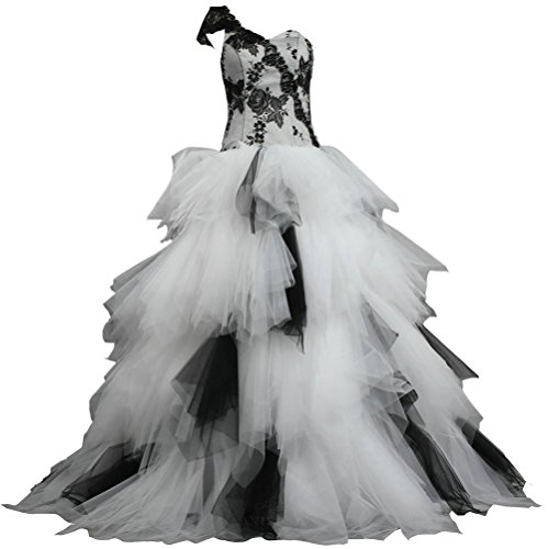 ANTS Women's Puffy One Shoulder Tulle Lace Bridal Wedding Gowns Size 26W US White and Black