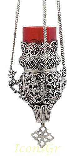 Orthodox Greek Christian Bronze Hanging Votive Vigil Oil Lamp with Chain and Red Glass - 9395n by Iconsgr