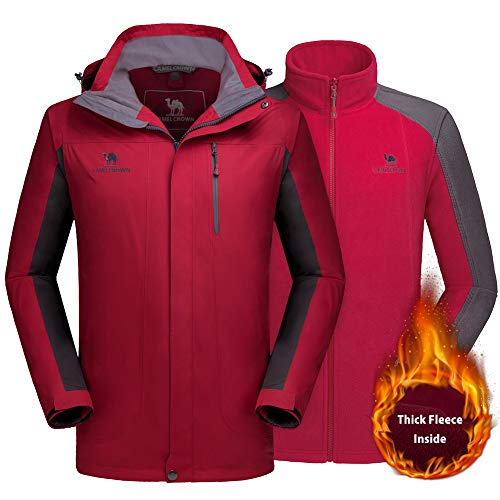 Ski 1 Snow (CAMEL CROWN Men's Ski Jacket 3 in 1 Waterproof Winter Jacket Snow Jacket Windproof Hooded with Inner Warm Fleece Coat Red)