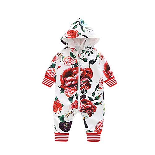 Franterd Little Girls Boys Hooded Rompers Baby Warm One-Piece Harem Pants Floral Zipper Long Sleeve Overall Jumpsuits