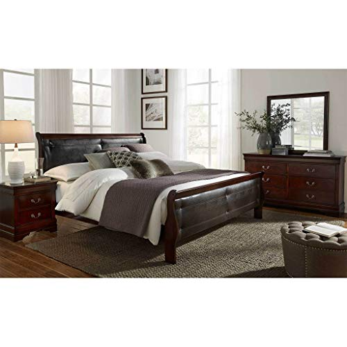 Global Furniture USA Marley Bedroom Set (5pc) Includes Inside delivery with Assembly to Room of Choice (Merlot, Full)