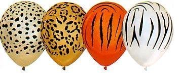 12 Animal Print Balloons - Lion Tiger Cheetah -