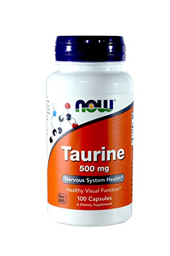 NOW Taurine 500mg, 100 Capsules (Pack of 3)