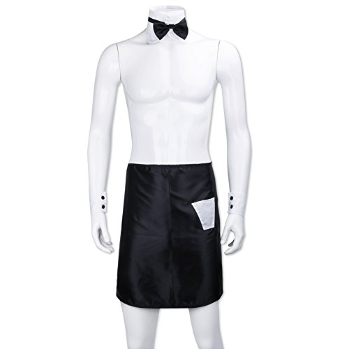 - iEFiEL Men's Sexy Butler Apron Bow Tie Collar Cuffs Waiter Cosplay Party Costume Set