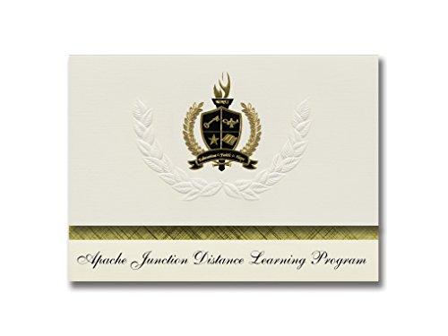 (Signature Announcements Apache Junction Distance Learning Program Graduation Announcements, Presidential Elite Pack 25 with Gold&Black Metallic Foil seal)