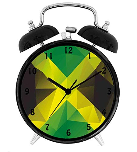 22yiihannz Triangular Polygon Abstract Flag Geometric National Symbol,Battery Operated Quartz Ring Alarm Clock for Home,Office,Bedroom,Green Yellow Green Brown_4inch