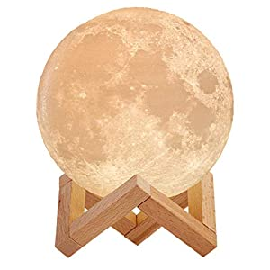 Mind-glowing 3D Moon Lamp – 16 LED Colors, Dimmable, Rechargeable Night Light (Large, 5.9in) with Wooden Stand, Remote…