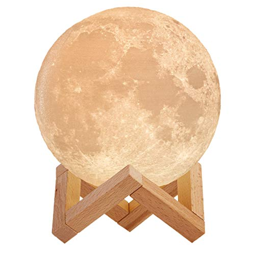 Mind-glowing 3D Moon Lamp - 16 LED Colors, Dimmable, Rechargeable Night Light (Large, 5.9in) with Wooden Stand, Remote & Touch Control - Nursery Decor for your Baby, Birthday Gift Idea for Women]()