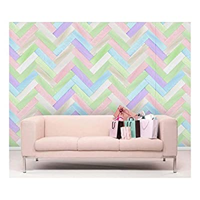 Colorful Pastel Zig Zag Chevron Wood Textured Paneling - Wall Mural Wallpaper, Removable Wallpaper, Home Decor - 66x96 inches
