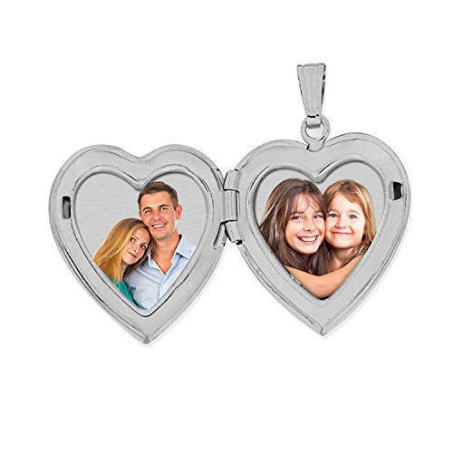 Always in My Heart Silver Heart Locket Pendant Necklace 3/4 Inch X 3/4 Inch (Locket Only)