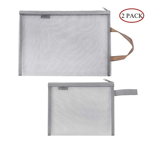 A4+A5 Mesh Pencil Case Nylon Gauze Pouch 2 Pack Zipper Storage Bag Transparent Paper Document Pouches Zipper Pen Folder Bags for Office Supplies Cosmetics Travel Business Receipts Accessories