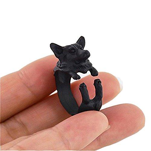 (Witty Novelty Welsh Corgi Puppy Ring (Black))