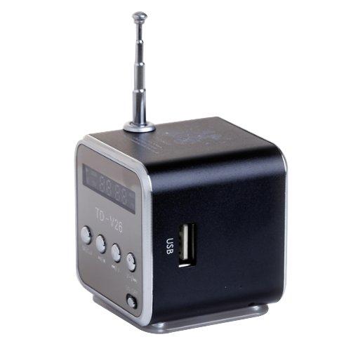 TD-V26 Tragbare mini digital Lautsprecher mit Micro SD / TF / USB / FM - Black