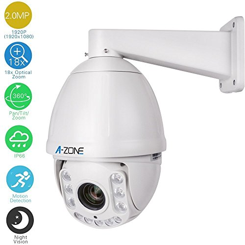 AHD PTZ Dome Camera,A-ZONE 1080P 18x Optical Zoom, 2.0MP Waterproof Night Vision up to 100M, Indoor/Outdoor CCTV Surveillance Camera, High Speed Security Camera Coaxial System, Free App