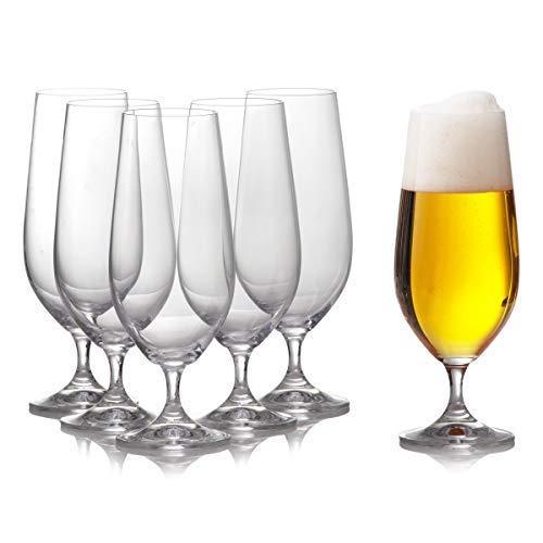 Pilsner Beer Glasses Set of 6 for Craft, Belgium, German Beer/Half pint/Elegant & Durable / 12.8oz / 380ml ()