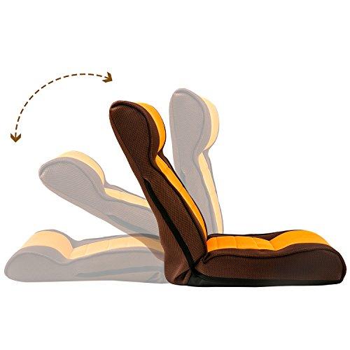 Harper&Bright designs Adjustable Fabric Floor Sofa Chair Folding Kids Chair Lazy Sofa(Brown/Orange)