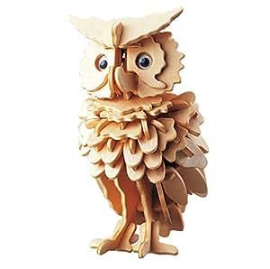 TUOBU DIY 3D Wooden Owl Bird Shapes Jigsaw Model Construction Creative Toy