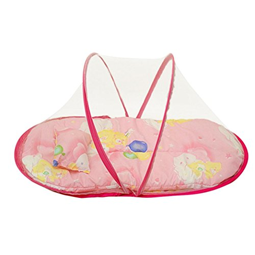 Fineser Baby Travel Bed Portable and Soft Baby Travel Bed Baby Bed Folding Baby Crib Mosquito Net Baby Cots with Pad and Pillow (Hot Pink) from Fineser