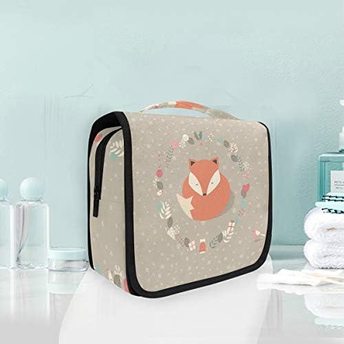 かわいいスノーフォックスハンギング折りたたみトイレタリー化粧品袋メイク旅行オーガナイザーバッグケース用女性女の子浴室