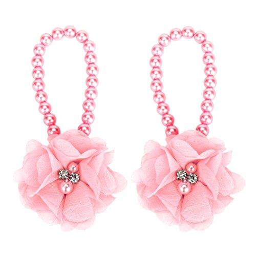 1Pair FEITONG Infant Kids Cute Pearl Barefoot Foot Flower Wear Beach Sandals