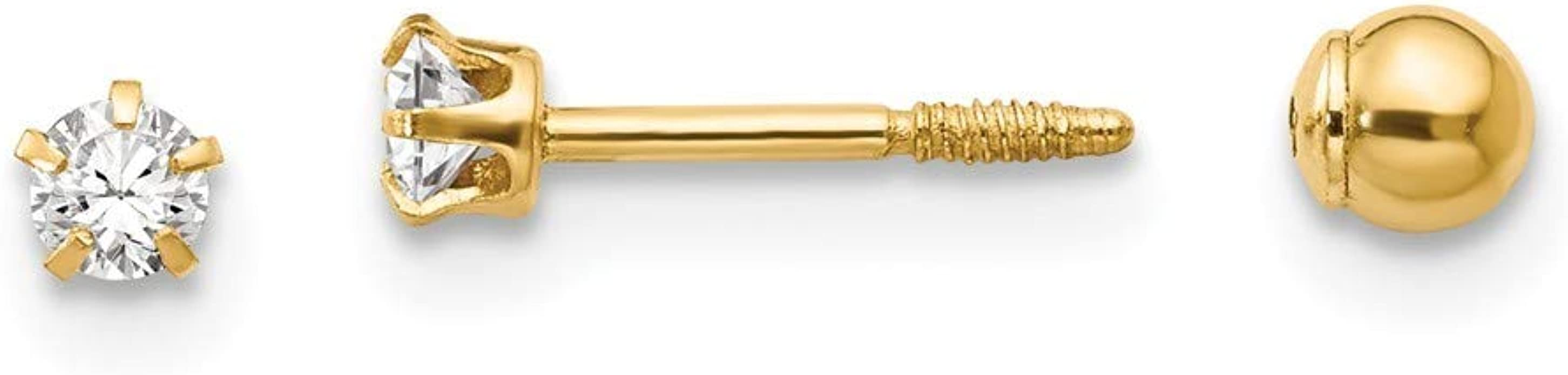 14K Yellow Gold Madi K Polished 3mm Ball Screwback Earrings