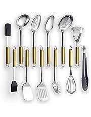 Kyraton Köksredskap i rostfritt stål 12 delar, rostfritt stålskedssetet med gyllene handtag innehåller sked, skumgummi, potatis, spatel osv. (12 stycken)