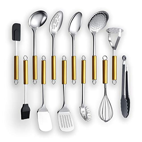 Cooking Utensil Set 12 Piece, Kyraton Stainless Steel Gold Handle Kitchen Utensil Set Kitchen Tool Set Include Cooking…
