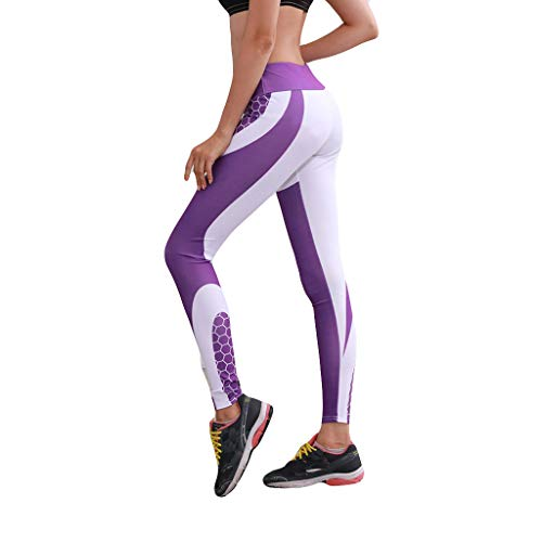 Yoga Pants,Claystyle Ladies'high Waist Hip Colour Honeycomb Print Pants Running Fitness Yoga Pants Purple