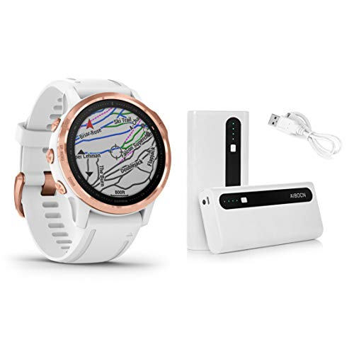 Garmin Fenix 6S Pro Rose Gold with White Band, Smaller-Sized Premium Multisport GPS Watch (010-02159-10) and Aibocn 10,000mAh Portable Battery Charger Bundle
